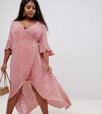 Glamorous Curve Wrap Front Dress In Cherry Print