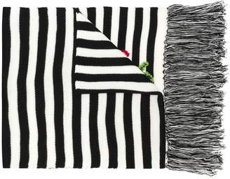 Twin-Set flower embroidered striped scarf