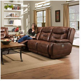 Southern Motion Crescent Leather Reclining Sofa Type: Power Headrest Sofa