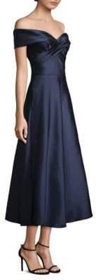 Theia Off-The-Shoulder Midi Dress