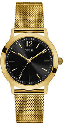 GUESS Analog Black Dial Goldtone Mesh Bracelet Watch