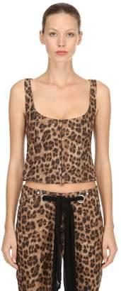 Miaou Roxanne Leopard Printed Denim Top