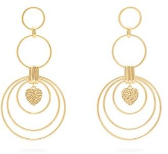 Joelle Gagnard Kharrat - Hearts Large Gold Plated Drop Earrings - Womens - Gold