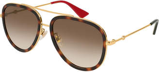 Gucci Metal Gradient Aviator Sunglasses