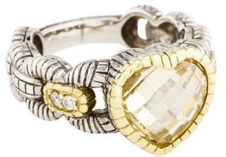Judith Ripka Canary Crystal & Diamond Heart Ring