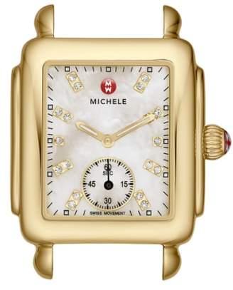 Michele Deco 16 Diamond Dial Gold Watch Head, 29mm x 31mm