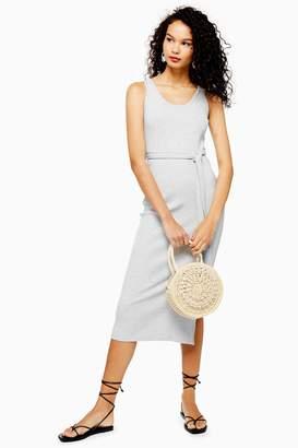 178d931916e1 Topshop Womens Ribbed Belted Column Dress - Grey Marl