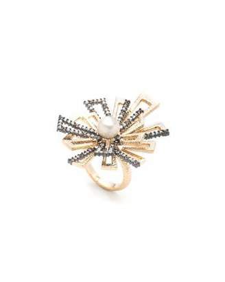 Alexis Bittar Brutalist Pearl Ring w/ Crystals