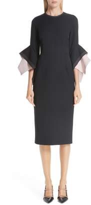 Roksanda Bicolor Flutter Sleeve Crepe Sheath Dress