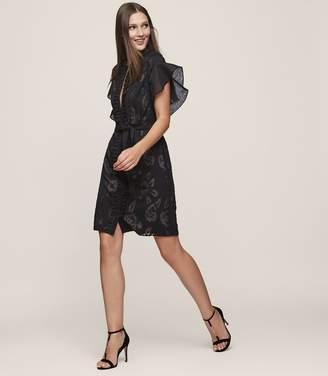 Reiss Mara - Ruffle-sleeve Dress in Black/Nude