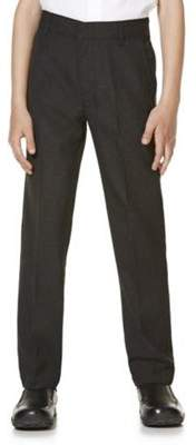 F&F School 2 Pack of Boys Teflon EcoElite Flat Front Slim Leg Longer Length Trousers