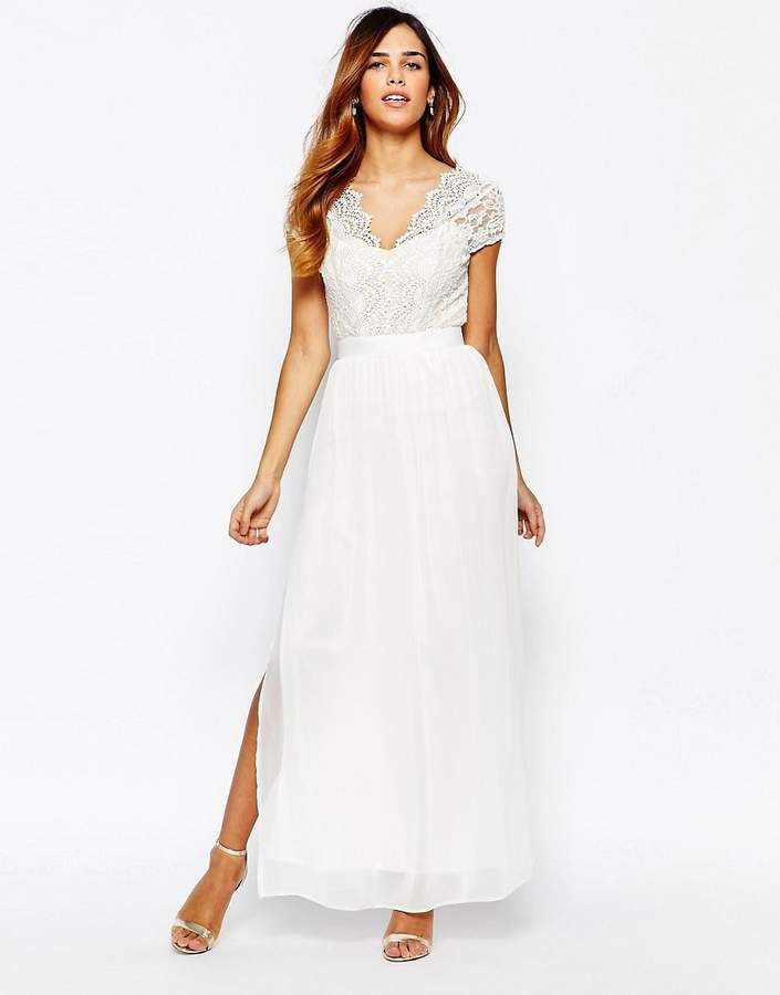 Elise Ryan Scallop Lace Plunge Maxi Dress With Double Thigh Split
