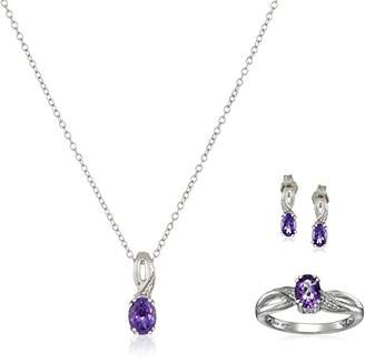 Sterling Silver Amethyst Oval with Diamond Pendant Necklace