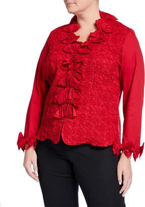92956e368b4c45 Go Silk Plus Size Puckered Bow-Trim Blouse