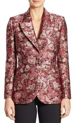ADAM by Adam Lippes Belted Floral Tuxedo Blazer