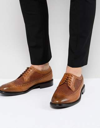 Paul Smith Malloy Woven Leather Brogue In Tan