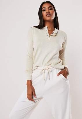 Missguided Stone Grandad Collar Loose Knit Sweater