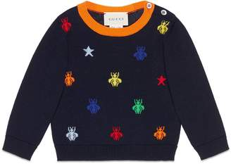 Gucci Baby bees and stars jacquard merino sweater