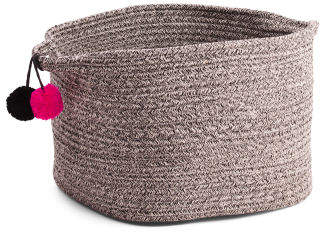 Small Tapered Rope Storage Basket With Poms