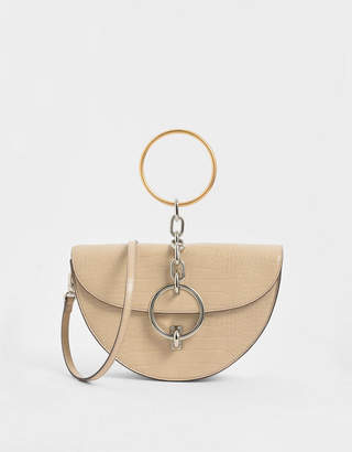 Charles & Keith Croc-Effect Half-Moon Bracelet Bag
