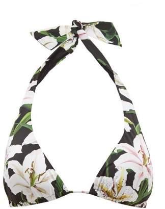 Dolce & Gabbana Lily Print Triangle Bikini Top - Womens - Black Print
