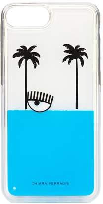Chiara Ferragni Eye And Palm Trees Liquid Glitter I-phone 8 Case
