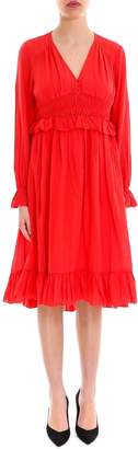 Closed Ruffle Detail V-Neck Midi Dress
