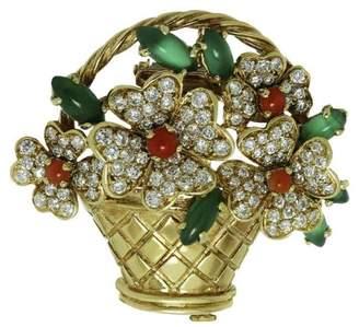 Van Cleef & Arpels 18K Yellow Gold Diamond Coral Chalcedony Bouquet Brooch
