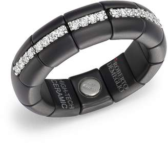 Roberto Demeglio 18K White Gold & Matte Black Ceramic Pura Ring with Diamonds