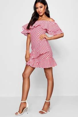 boohoo Ruffle Off The Shoulder Mini Dress
