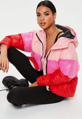 Missguided Petite Pink Colorblock Puffer Jacket