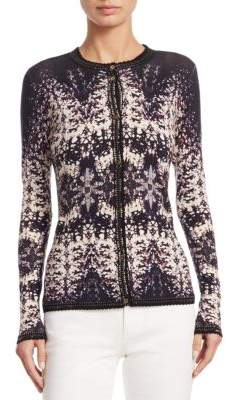 Roberto Cavalli Burnout Button-Front Cardigan