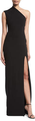 SOLACE London Averie One-Shoulder Side-Slit Maxi Dress
