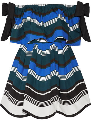 Fendi - Off-the-shoulder Bow-embellished Striped Cotton-poplin Mini Dress - Bright blue $2,250 thestylecure.com