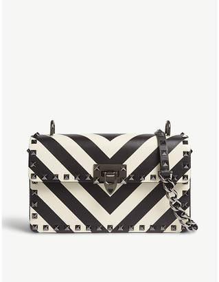 Valentino Black and White Rockstud Stripe Leather Satchel