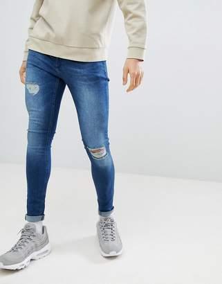 Criminal Damage Super Skinny Jeans In Dark Blue