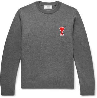 Ami Slim-Fit Appliquéd Merino Wool Sweater