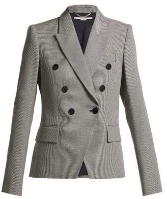 Stella McCartney Double Breasted Houndstooth Wool Jacket - Womens - Grey