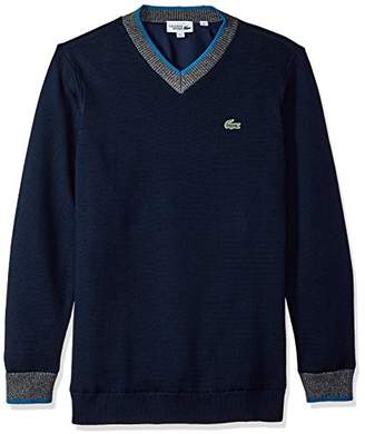 Lacoste Men's Long Sleeve Fantaisie V Neck & Rib Knit Detail Sweater