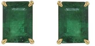 Shay Emerald Cut Emerald Stud Earrings - Yellow Gold