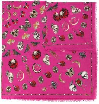 Alexander McQueen jewelled trinkets print scarf