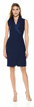 Lark & Ro Women's Short Faux Wrap Dress with Extended Shoulder