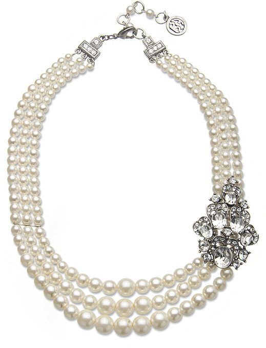 Ben-Amun Three Strand Pearl Necklace with Deco Brooch