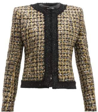 Balmain Sequinned Lame Boucle Jacket - Womens - Gold Multi