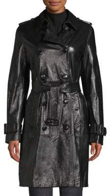 Elie Tahari Natania Patent Leather Trench Coat