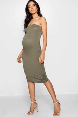 boohoo Maternity Lucy Bandeau Bodycon Midi Dress