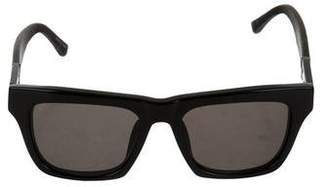 The Row x Linda Farrow Leather-Trimmed Tinted Sunglasses