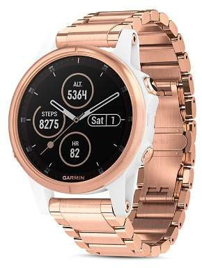 Garmin Fenix 5S Plus Rose Gold-Tone Link Bracelet Smartwatch, 42mm