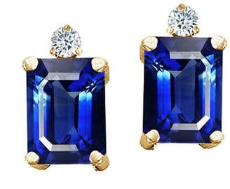 Tommaso design Studio Tommaso Design Emerald Cut 8x6mm Created Sapphire and Diamond Earrings Studs 14k