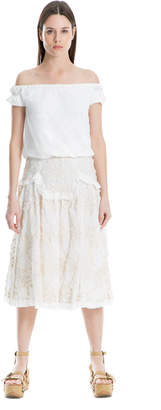 Max Studio eyelash embroidered hanky linen skirt
